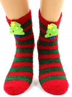 Махровые женские новогодние носки в полоску с елочкой