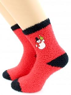Махровые высокие женские новогодние носки со снеговиками
