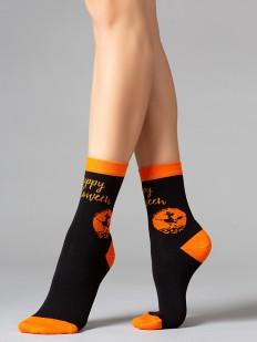 Высокие женские носки на Хэллоуин с тематическим принтом
