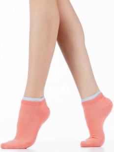 Короткие женские носки коралловые с серой резинкой