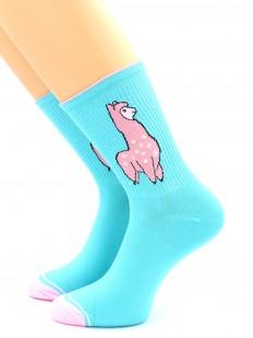 Высокие цветные носки с розовой ламой и контрастным мыском