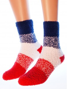 Высокие махровые женские носки в цветную полоску