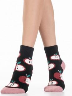 Махровые черные женские носки с яблочками