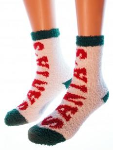 Новогодние махровые женские носки с надписью SANTA