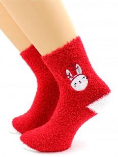 Махровые высокие женские новогодние носки с зайками
