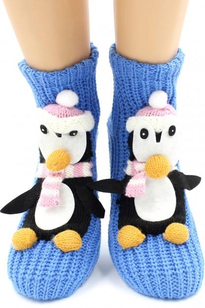 Вязаные теплые женские носки с пингвинами HOBBY LINE 073