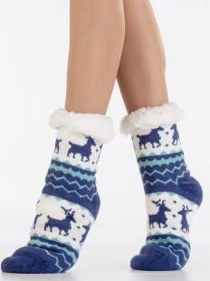 Теплые высокие меховые женские носки с северными оленями