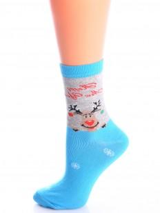 Цветные новогодние женские носки с оленем