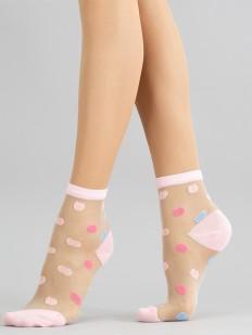Капроновые женские носочки в цветной горошек