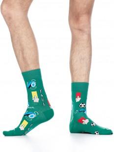 Высокие цветные мужские носки с футбольным принтом
