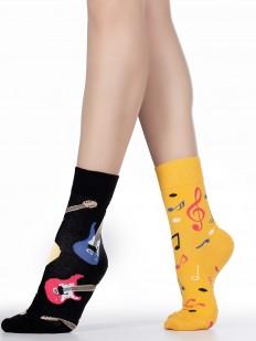 Женские двухцветные носки с принтом гитары и ноты