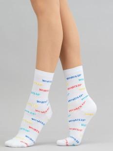 Высокие женские носки с цветными надписями WHATS UP