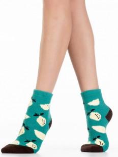 Махровые женские носки цвета морской волны с лимонами