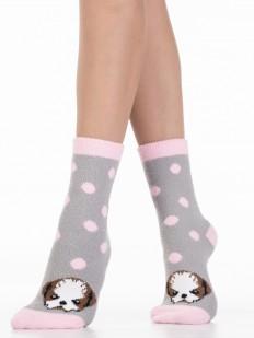 Махровые женские носки в розовый горошек с собачками