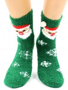 Высокие махровые женские новогодние носки с Дед Морозом