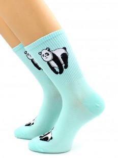 Носки с мишками панда и высокой спортивной резинкой