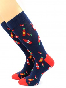 Высокие носки унисекс с принтом соус чили