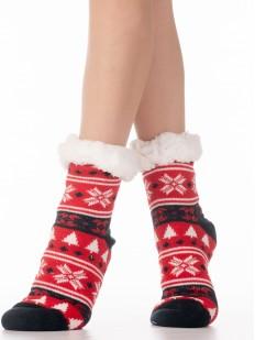Высокие женские меховые носки с зимним цветным орнаментом