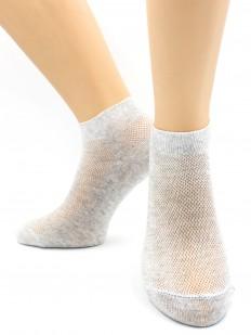 Женские короткие хлопковые носки в сеточку серые