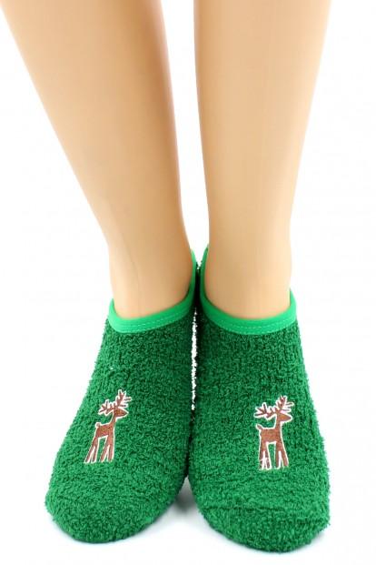 Махровые укороченные зеленые женские носки с оленями HOBBY LINE 2139-2