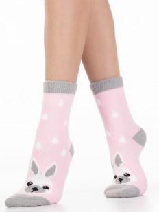 Махровые розовые женские носки с зайчиками