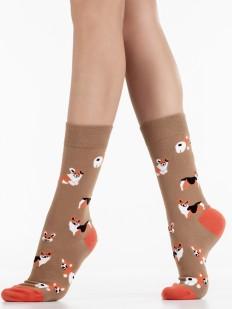 Оригинальные хлопковые носки унисекс с рисунком корги