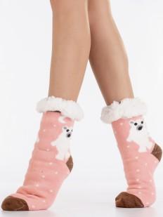 Теплые высокие меховые женские носки с белыми мишками