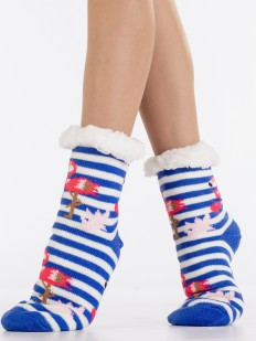 Теплые высокие меховые женские носки в полоску с рисунком фламинго