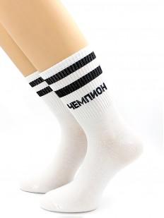 Высокие хлопковые носки унисекс в полоску с надписью ЧЕМПИОН