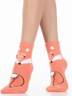 Персиковые женские носки с лисичками