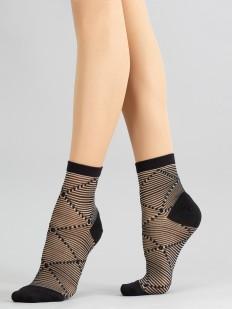 Капроновые женские носки с фантазийным геометрическим рисунком