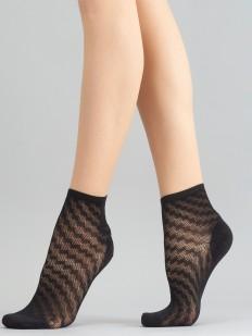 Стильные капроновые женские носки с узором шашечки