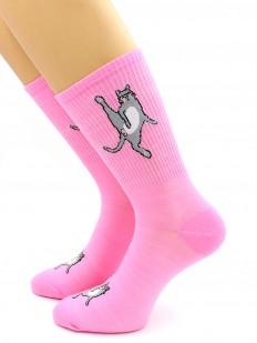 Хлопковые носки с котиками и высокой спортивной резинкой