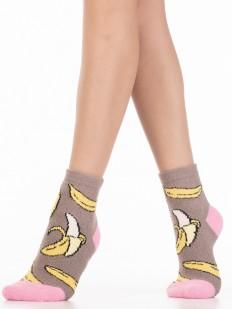 Махровые яркие женские носки с бананами