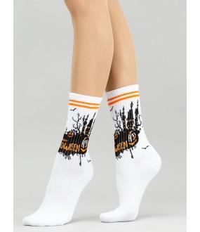 Женские высокие носки на Хэллоуин с тематическим рисунком