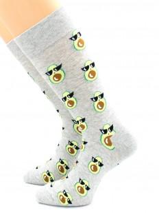Высокие серые носки с рисунком стильных авокадо