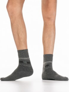 Теплые мужские носки с ангорой и геометрическим узором