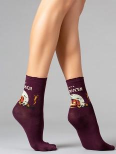 Бордовые женские носки на Хэллоуин с тематическим принтом