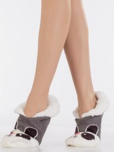 Теплые короткие меховые женские носки с принтом зверюшки