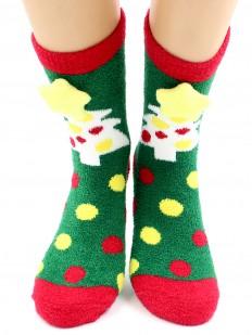 Махровые теплые женские новогодние носки в горошек со звездочками