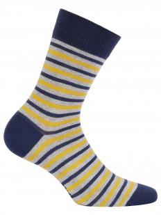 Высокие хлопковые мужские носки в полоску желтые