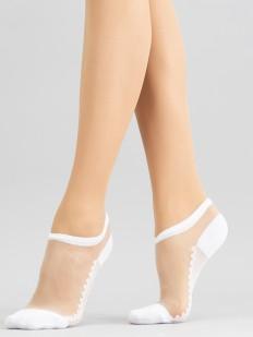 Прозрачные укороченные женские носки с цветной стопой