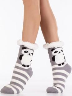 Теплые высокие меховые женские носки в полоску с рисунком панда