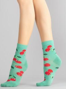 Цветные женские носки с вишенками