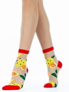 Стильные женские яркие носки с лимонами на лето
