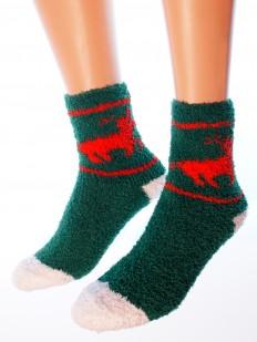 Махровые высокие женские новогодние носки с оленями