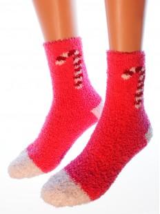 Высокие махровые женские носки с рождественскими леденцами