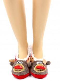 Короткие новогодние женские носки тапочки с оленями и мехом внутри