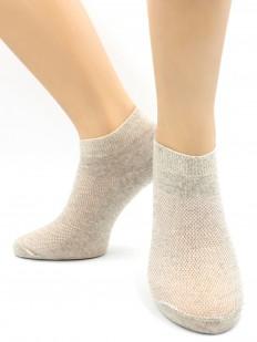 Женские короткие хлопковые носки в сеточку бежевые