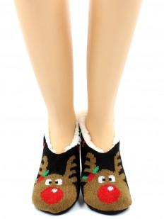 Женские короткие новогодние носки тапочки с оленями и мехом внутри